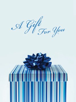 A Gift For You with Blue Gift Box Gift Card Holder
